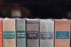 Σπονδυλικές στήλες βιβλίων εγγράφου σε μια παλαιά προθήκη Παρίσι Γαλλία βιβλιοπωλείων στοκ φωτογραφίες με δικαίωμα ελεύθερης χρήσης