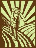 σπορά σπόρων αγροτών διανυσματική απεικόνιση