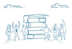Σπουδαστές βιβλίων βαθμολογημένο το σωρός ΚΑΠ εκπαίδευσης χέρι σκίτσων γνώσης μελέτης έννοιας επιτυχές doodle που σύρεται που στέ Απεικόνιση αποθεμάτων