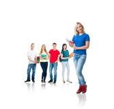 Σπουδαστές που απομονώνονται εφηβικοί στο λευκό Στοκ εικόνες με δικαίωμα ελεύθερης χρήσης