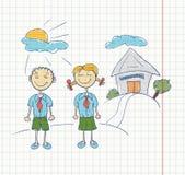 σπουδαστές σκίτσων σημειωματάριων Στοκ Φωτογραφίες