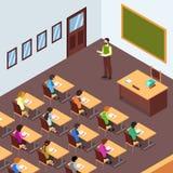 Σπουδαστής δασκάλων στην τάξη στη Isometric απεικόνιση στοκ εικόνα με δικαίωμα ελεύθερης χρήσης