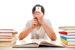 Σπουδαστής με ένα τηλέφωνο Στοκ Εικόνες