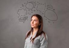 Σπουδαστής με την έννοια συνομιλίας doodle στοκ εικόνες