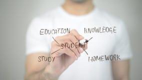 Σπουδαστής, τέχνη συνδετήρων έννοιας, άτομο που γράφει στη διαφανή οθόνη στοκ φωτογραφίες με δικαίωμα ελεύθερης χρήσης