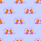 Σπουργίτι πουλιών ρωμανικός s ST ημέρας βαλεντίνος καρδιών seamless Στοκ Φωτογραφία