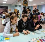 Σπουδαστές ερευνητικού σεμιναρίου στην πόλη Obninsk, περιοχή Kaluga, της Ρωσίας Στοκ Φωτογραφία