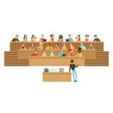 Σπουδαστές που ακούνε σε μια αίθουσα διάλεξης στο πανεπιστήμιο ή το κολλέγιο, που παίρνει τις σημειώσεις, που υποβάλλουν τις ερωτ απεικόνιση αποθεμάτων
