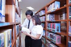 Σπουδαστές που εργάζονται στην πανεπιστημιακή βιβλιοθήκη Στοκ Εικόνα