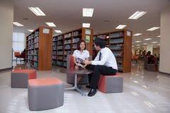 Σπουδαστές που εργάζονται στην πανεπιστημιακή βιβλιοθήκη Στοκ φωτογραφία με δικαίωμα ελεύθερης χρήσης