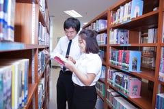Σπουδαστές που εργάζονται στην πανεπιστημιακή βιβλιοθήκη Στοκ Εικόνες