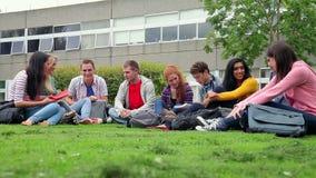 Σπουδαστές που κάθονται στη χλόη που μιλά μαζί φιλμ μικρού μήκους