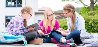 Σπουδαστές που κάνουν την εργασία για το σχολείο από κοινού Στοκ φωτογραφία με δικαίωμα ελεύθερης χρήσης
