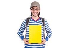 Σπουδαστής με τα βιβλία που απομονώνεται Στοκ Φωτογραφία