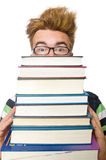 Σπουδαστής με τα βιβλία που απομονώνεται Στοκ Εικόνες