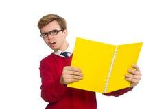 Σπουδαστής με το έγγραφο που απομονώνεται στο λευκό Στοκ Εικόνες