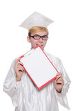 Σπουδαστής με το σημειωματάριο που απομονώνεται Στοκ Φωτογραφίες