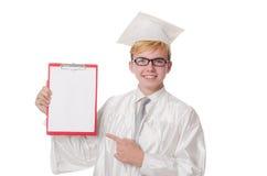 Σπουδαστής με το σημειωματάριο που απομονώνεται Στοκ φωτογραφία με δικαίωμα ελεύθερης χρήσης