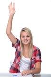 Σπουδαστής με το χέρι επάνω Στοκ Εικόνα