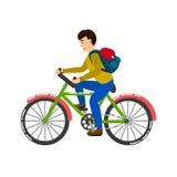 Σπουδαστής που οδηγά μια διανυσματική απεικόνιση ποδηλάτων Στοκ Εικόνες