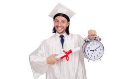 Σπουδαστής που χάνει τις προθεσμίες του με το ρολόι Στοκ Φωτογραφίες