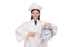 Σπουδαστής που χάνει τις προθεσμίες του με το ρολόι Στοκ εικόνες με δικαίωμα ελεύθερης χρήσης