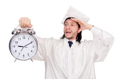 Σπουδαστής που χάνει τις προθεσμίες του με το ρολόι Στοκ Εικόνα