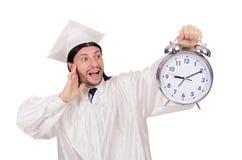 Σπουδαστής που χάνει τις προθεσμίες του με το ρολόι Στοκ φωτογραφίες με δικαίωμα ελεύθερης χρήσης