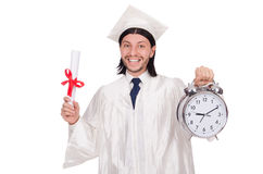 Σπουδαστής που χάνει τις προθεσμίες του με το ρολόι Στοκ φωτογραφία με δικαίωμα ελεύθερης χρήσης