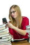 Σπουδαστής στο κινητό τηλέφωνο Στοκ Εικόνα