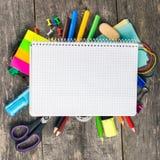 σπουδαστής φωτογραφιών &ga πίσω σχολείο έννοιας Τοπ όψη τετράγωνο Στοκ Φωτογραφίες