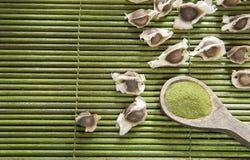 Σπόροι και moringa σκόνη - Moringa oleifera Στοκ Φωτογραφία