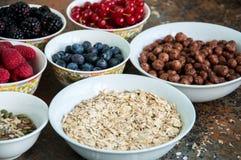 Σπόροι μούρων βρωμών superfood στα κύπελλα σε ένα σκουριασμένο υπόβαθρο Στοκ φωτογραφία με δικαίωμα ελεύθερης χρήσης
