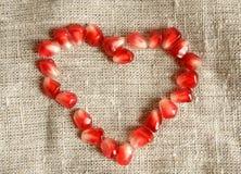 σπόροι ροδιών καρδιών Στοκ φωτογραφία με δικαίωμα ελεύθερης χρήσης