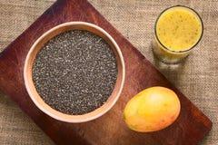 Σπόροι Chia και χυμός μάγκο-Chia Στοκ Εικόνα