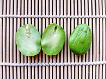 Σπόροι Sato, σπόροι speciosa Parkia ή πικρό φασόλι στα κάγκελα μπαμπού Στοκ Εικόνες