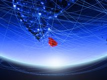 Σρι Λάνκα από το διάστημα με το δίκτυο στοκ φωτογραφία με δικαίωμα ελεύθερης χρήσης
