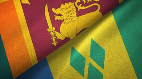 Σρι Λάνκα και Άγιος Βικέντιος και Γρεναδίνες δύο υφαντικό ύφασμα σημαιών απεικόνιση αποθεμάτων