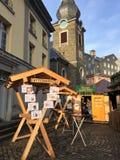 Στάβλοι τροφίμων αγοράς Χριστουγέννων Στοκ φωτογραφία με δικαίωμα ελεύθερης χρήσης