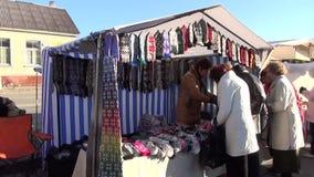 Στάβλος γαντιών μαλλιού scarve απόθεμα βίντεο