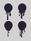 Στάζοντας μαύροι κύκλοι Μελανωμένος γύρω από τις υγρές μορφές με το χρώμα στάζει για το διανυσματικό σύνολο λογότυπων γάλακτος ή  απεικόνιση αποθεμάτων