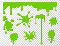 Στάζοντας slime Πράσινο στάζοντας υγρό goo snot, λεκέδες και παφλασμοί Slime κινούμενων σχεδίων splodges διανυσματικό σύνολο διανυσματική απεικόνιση