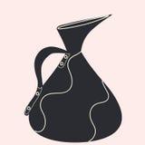 Στάμνα για τα ποτά με ένα λαβών σκούρο μπλε άσπρο διάνυσμα υποβάθρου ντεκόρ ελαφρύ Στοκ Εικόνα