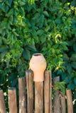 Στάμνες σταμνών αργίλου σχεδίου τοπίων σε έναν υφαμένο ξύλινο φράκτη Στοκ φωτογραφία με δικαίωμα ελεύθερης χρήσης