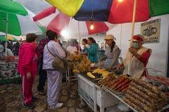Στάσεις τροφίμων στην ετήσια γιορτή Villa de Leyva Κολομβία Στοκ φωτογραφία με δικαίωμα ελεύθερης χρήσης
