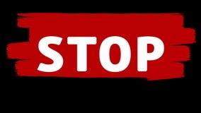 Στάση - άσπρη επιγραφή στα κόκκινα κτυπήματα βουρτσών χρωμάτων ελεύθερη απεικόνιση δικαιώματος