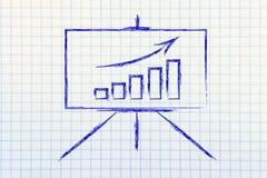 Στάση αιθουσών συνεδριάσεων whiteboard με τη θετική γραφική παράσταση stats Στοκ Φωτογραφία