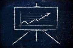Στάση αιθουσών συνεδριάσεων whiteboard με τη θετική γραφική παράσταση stats Στοκ εικόνα με δικαίωμα ελεύθερης χρήσης