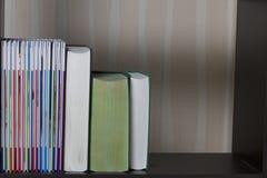 Στάση βιβλίων σε ένα ράφι στη βιβλιοθήκη Στοκ εικόνα με δικαίωμα ελεύθερης χρήσης