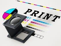 Στάση εκτύπωσης loupe σε χαρτί δοκιμής χρώματος τρισδιάστατη απεικόνιση ελεύθερη απεικόνιση δικαιώματος